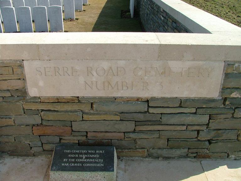 SERRE ROAD CEMETERY No.3, PUISIEUX - CWGC